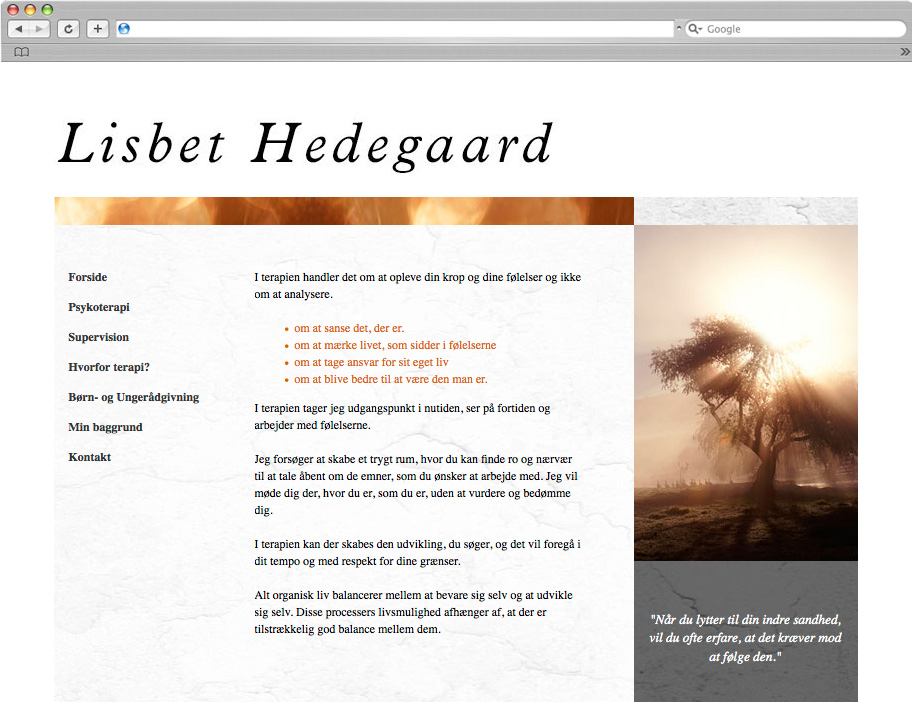 Hedegaard Terapi website