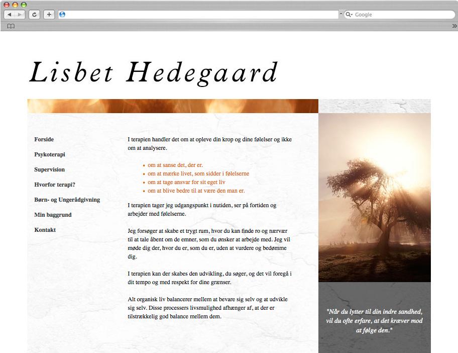 Hedegaard Terapi website