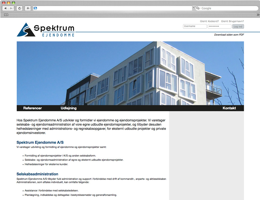 Spektrum Ejendomme website
