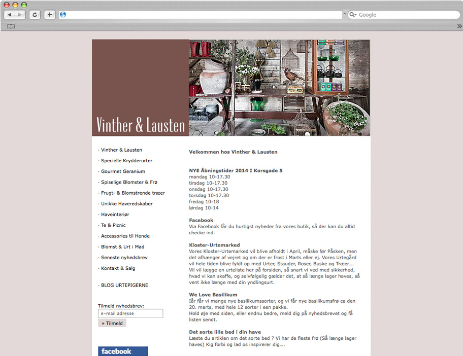 Vinther & Lausten website